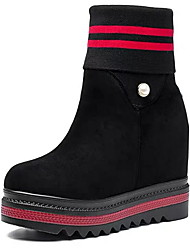 cheap -Women's Boots Wedge Heel Round Toe Suede Booties / Ankle Boots Fall & Winter Black / White / Black / Red