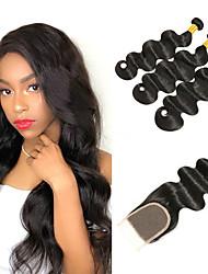 cheap -3 Bundles with Closure Indian Hair Body Wave Remy Human Hair 100% Remy Hair Weave Bundles Natural Color Hair Weaves / Hair Bulk Extension Bundle Hair 8-20 inch Natural Human Hair Weaves Valentine