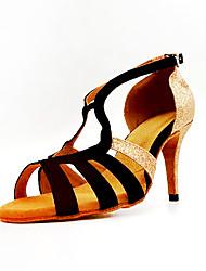 cheap -Women's Dance Shoes Synthetics Latin Shoes Heel Slim High Heel Customizable Black / Gold / Performance / Leather / Practice