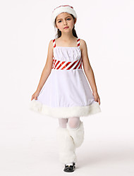 cheap -Santa Suit Outfits Girls' Kid's Christmas Christmas Christmas Poly / Cotton Blend Dress