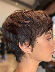 cheap -Human Hair Wig Short Straight Natural Straight Bob Pixie Cut Layered Haircut Asymmetrical Brown Life Easy dressing Comfortable Capless Women's All Brown Natural Black 8 inch / Natural Hairline