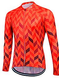 abordables -Fastcute Homme Femme Manches Longues Maillot Velo Cyclisme Hiver Toison Coolmax® 100 % Polyester Peau-Rouge Violet Orange Grandes Tailles Cyclisme Shirt Maillot Hauts / Top VTT Vélo tout terrain Vélo
