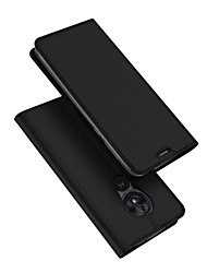 cheap -Case For Motorola Moto G7 Play Card Holder / with Stand / Flip Full Body Cases Solid Colored PU Leather / TPU