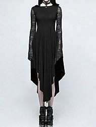 cheap -Women's Halloween Asymmetrical A Line Dress - Solid Colored Black S M L XL