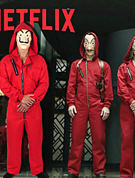 cheap -la casa de papel Joker Dali Outfits Men's Women's Movie Cosplay Red Costume Halloween Carnival Masquerade 100% Polyester