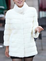 abordables -Femme Quotidien Basique Grandes Tailles Normal Manteau de fausse fourrure, Couleur Pleine Mao Manches Longues Fausse Fourrure Noir / Blanche