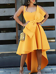 cheap -Women's Basic A Line Dress - Solid Colored Bow Yellow S M L XL