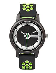 Недорогие -Для пары Нарядные часы Японский Японский кварц Стильные силиконовый Синий / Оранжевый / Зеленый 30 m Повседневные часы деревянный Аналого-цифровые Мода Дерево -  / Два года