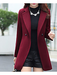 cheap -Women's Daily Fall & Winter Long Coat, Solid Colored Notch Lapel Long Sleeve Polyester Red / Navy Blue / Wine