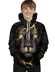 abordables -Enfants Bébé Garçon Actif Basique Lion Géométrique Bloc de Couleur 3D Imprimé Manches Longues Pull à capuche & Sweatshirt Noir