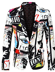 cheap -Men's Party / Holiday / Bachelor's Party Regular 3D / Abstract Notch Lapel Full Body Polyester Print White