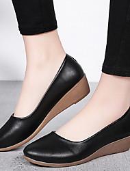 cheap -Women's Flats Wedge Heel Round Toe PU Summer Black / Beige / Khaki