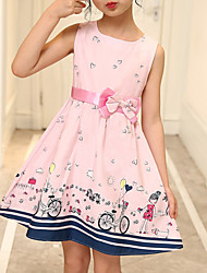 cheap -Kids Girls' Active Geometric Print Sleeveless Above Knee Dress Blushing Pink