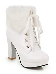 cheap -Women's Boots Chunky Heel Round Toe Rivet / Pom-pom PU Mid-Calf Boots Vintage / Minimalism Winter / Fall & Winter Black / Almond / White