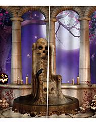 Недорогие -Творческий затемнение пользовательских оконных штор без перфорации Хэллоуин ужас их 3D цифровая печать для гостиной / спальни студия ткани занавес