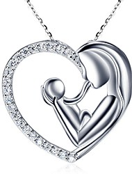 cheap -Women's Pendant Necklace Heart Trendy Cute Chrome Silver 45 cm Necklace Jewelry 1pc For Gift