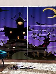 Недорогие -уф цифровая печать занавес затемнения влагостойкие пользовательские шторы готовы для бар / спальня фиолетовый тема Хэллоуин фон шторы