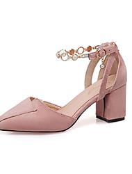 cheap -Women's Heels Chunky Heel Pointed Toe PU Sweet Summer Pink / Black / Beige / Daily / 2-3