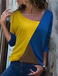 cheap -Women's Color Block Long Sleeve Cardigan Sweater Jumper, Round Neck Fall Black / Yellow / Blue S / M / L