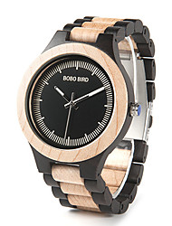 cheap -Men's Dress Watch Japanese Japanese Quartz Stylish Wood Brown / Ruby No Wooden Analog Fashion Wood - Black / Red Black / Brown Two Years Battery Life