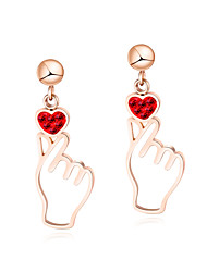 cheap -Women's Red Drop Earrings Hollow Out Heart Stylish Korean Stainless Steel Rose Gold Plated Earrings Jewelry Gold For Daily 1 Pair