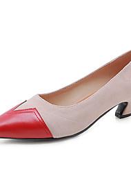 cheap -Women's Heels Cuban Heel Pointed Toe PU(Polyurethane) Classic Spring &  Fall Black / Almond / Party & Evening / Color Block