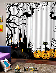 cheap -Cartoon Halloween Theme Window Curtains Personality Original Thickening Blackout Custom Curtains for Home Decro