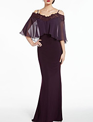 cheap -Sheath / Column Mother of the Bride Dress See Through Straps Floor Length Chiffon Half Sleeve with Appliques 2020