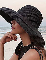 cheap -Women's Active Basic Cute Straw Straw Hat Sun Hat-Color Block Summer Fall Black White Beige