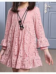 Недорогие -Дети Девочки Шинуазери (китайский стиль) Однотонный Кружева Длинный рукав Ассиметричное Платье Черный