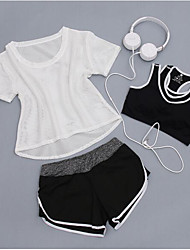 cheap -Women's Activewear Set Workout Outfits Athletic Short Sleeve Mesh Quick Dry Camping & Hiking Fitness, Running & Yoga Yoga Fitness Gym Workout Exercise & Fitness Running Sportswear Shorts Bottoms