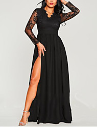 cheap -A-Line V Neck Floor Length Chiffon / Lace Elegant Prom Dress 2020 with Split Front / Lace Insert