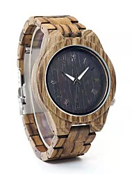 cheap -Men's Dress Watch Japanese Japanese Quartz Stylish Wood Brown 30 m Casual Watch Wooden Analog Fashion Wood - Brown Two Years Battery Life