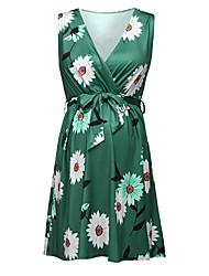 cheap -Women's Basic Elegant Shift Dress - Floral Daisy Sun Flower, Lace up Patchwork Print Green S M L XL