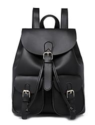 Недорогие -Большая вместимость PU Молнии рюкзак Сплошной цвет Повседневные Черный / Коричневый / Винный / Наступила зима