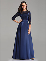 cheap -A-Line Elegant & Luxurious Formal Evening Dress Jewel Neck 3/4 Length Sleeve Floor Length Lace Satin with Lace Insert 2020