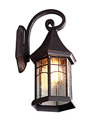 cheap -Wall Lamp Rustic Indoor Outdoor Wall Lantern Waterproof Round Shade Antique Wall Sconces with Glass Shade for Villa Gate Corridor
