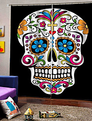 cheap -Colorful Skull Background Curtains for Party Halloween Blackout Heat Insulation Custom Curtains for Home Decro