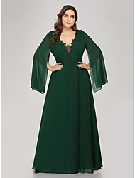cheap -A-Line Plus Size Green Wedding Guest Formal Evening Dress V Neck Long Sleeve Floor Length Chiffon Corded Lace with Appliques 2020