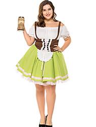 cheap -Oktoberfest Beer Dirndl Trachtenkleider Women's Dress Bavarian Costume Green