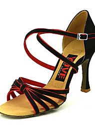 cheap -Women's Dance Shoes Satin Latin Shoes Buckle Heel Flared Heel Customizable Black / Blue / Black / Orange / Black / White / Performance / Leather / Practice