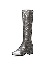 cheap -Women's Boots Knee High Boots Chunky Heel Cap-Toe PU Knee High Boots Vintage Fall & Winter Black / White / Silver / Party & Evening