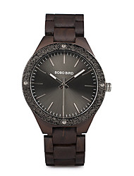 cheap -Men's Dress Watch Japanese Japanese Quartz Stylish Wood Black / Brown No Casual Watch Wooden Analog Fashion - Black Brown Two Years Battery Life