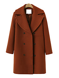 cheap -Women's Daily Spring &  Fall / Fall & Winter Long Coat, Solid Colored Rolled collar Long Sleeve Polyester Black / Camel / Brown