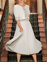 cheap -A-Line Jewel Neck Tea Length Chiffon / Lace Half Sleeve Wrap Included Mother of the Bride Dress with Lace / Pleats 2020