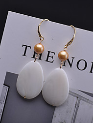 cheap -Women's Ivory Freshwater Pearl Drop Earrings Hoop Earrings Classic Shell Classic European Romantic Sweet Pearl Gold Plated Shell Earrings Jewelry White For Gift Daily Street Work Festival 1 Pair