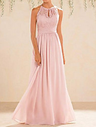 cheap -A-Line Halter Neck Floor Length Chiffon / Lace Bridesmaid Dress with Lace / Pleats / Open Back