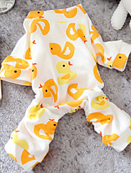 cheap -Dog Jumpsuit Pajamas Puppy Clothes Cartoon Casual / Daily Winter Dog Clothes Puppy Clothes Dog Outfits Yellow Pink Costume for Girl and Boy Dog Cotton XS S M L XL