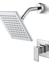 cheap -Shower Faucet / Bathroom Sink Faucet - Contemporary Chrome Wall Mounted Ceramic Valve Bath Shower Mixer Taps