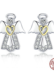 cheap -Women's Pink AAA Cubic Zirconia Stud Earrings Classic Angel Stylish Artistic Luxury Trendy Colorful S925 Sterling Silver Earrings Jewelry Golden For Christmas Gift Daily Work Festival 1 Pair
